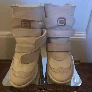 Monica Corte Taupe Leather Sneaker Wedge Size 7